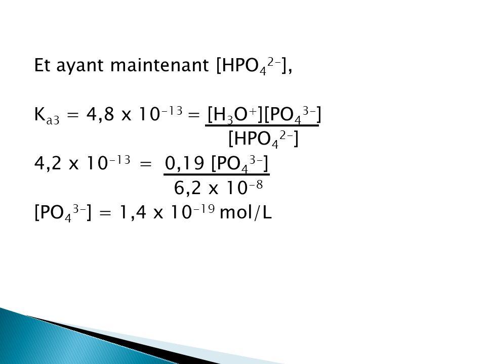 Et ayant maintenant [HPO42-], Ka3 = 4,8 x 10-13 = [H3O+][PO43-] [HPO42-] 4,2 x 10-13 = 0,19 [PO43-] 6,2 x 10-8 [PO43-] = 1,4 x 10-19 mol/L
